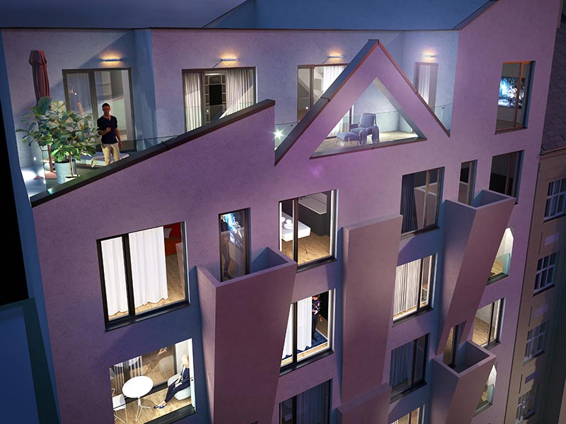 Novostavba Harfa Yard prodej bytů Praha 9 - Libeň